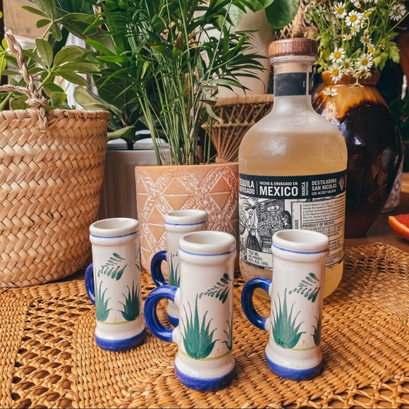 Vintage Ceramic Clay Mini Agave Tequila Shot Cups